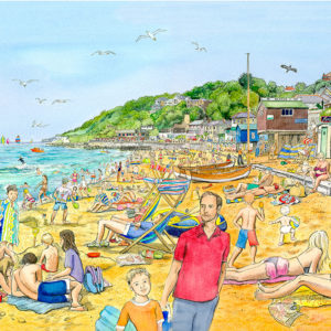 A packed beach with lots of sunbathers at Ventnor Bay on the isle of wight