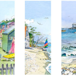 three images of Lanes End Bembridge with the lifeboat pier, beach huts and Ducie Beach
