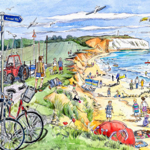 a busy beach scene at Yaverland sailing club on the isle of wight with the culver downs and cliffs behind