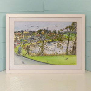 original painting of Wooton creek, Isle of Wight. This is a winter scene with a girl well wrapped up walking a shaggy dog.