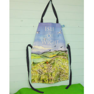 apron printed with countryside scene on the isle of wight