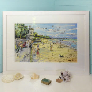 An original painting of Appley Beach and tower in Ryde Isle of `wight, there are lots of people on the beach walking dogs and it is very hot and sunny.