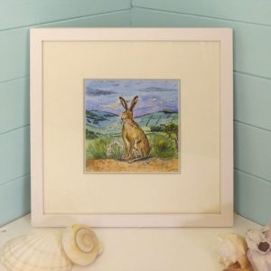 An original painting of a noble Isle of wight hare at twilight