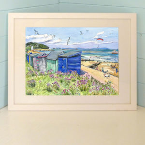Original painting of thrift, dry grasses and brightly painted beach huts at St Helen's, the Duver on the Isle of Wight
