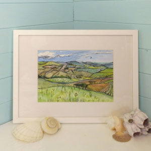 Original painting of fields at Arreton on the Isle of Wight