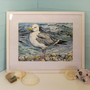 original painting of a seagull at Freshwater Bay isle of Wight