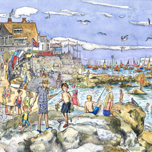 A picture of lots of people crabbing and swimming at seaview on the isle of wight