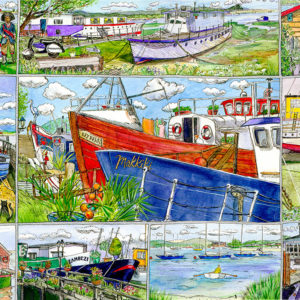 quirky house boats at Bembridge on the Isle of Wight