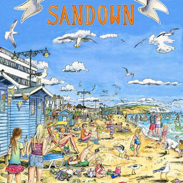retro style isle of wight poster of sandown