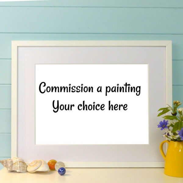 "Empty frame with text ""commission a painting"""