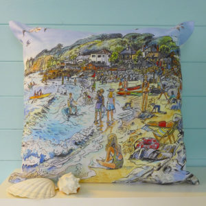 Steephill cove cushion, lots of people enjoying the sea and sunshine on the isle of wight