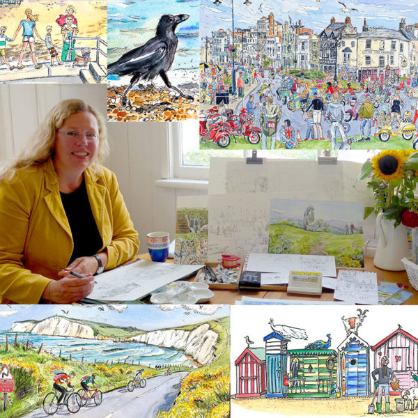 photo of Maria Ward Isle of Wight artist surrounded by paintings