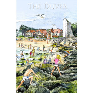 Children climbing over rocks at the Duver, St Helens, Isle of Wight