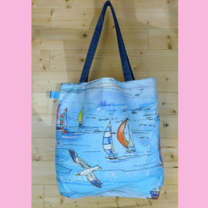 Cotton tote bag with The Needles print, made on Isle of Wight.