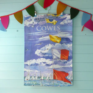 Printed tea towel with flags and darings racing at cowes on the Isle of Wight