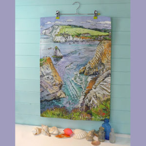 Freshwater bay cliffs and sea printed onto tea towel Isle of Wight