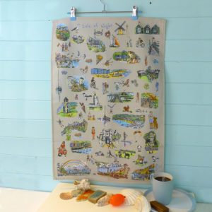 tea towel of Isle of Wight scenes