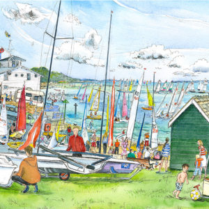 Gurnard Dinghy Week, a green with green beach huts filled with boats and people with boats racing in the background on the Isle of Wight