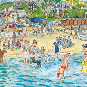 fun in the sea Shanklin beach Isle of Wight, lots of bathing belles playing in the sea