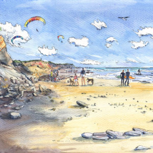 Compton Beach Isle of Wight with para-gliders